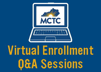 Virtual Q&A Sessions with laptop graphic and MCTC logo