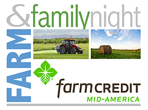 graphic logo reading FARM amp; FAMILY NIGHT with the FARM CREDIT MID-AMERICA logo at the bottom. Background image of a tractor in a field and bales of hay in a field