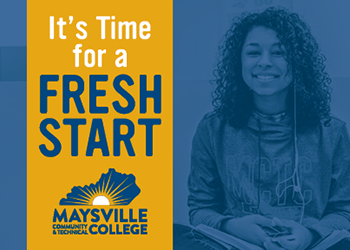 It's Time For A Fresh Start on a gold bar on top of a blue background with smiling student.