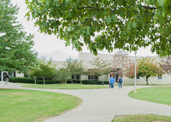 Walkway and trees on the Maysville Campus