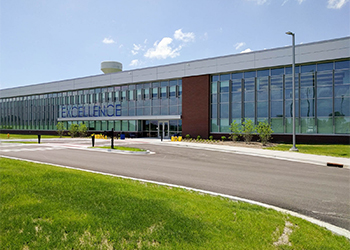 Exterior view of the front of the Rowan Campus main building.