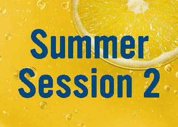 Words Summer Session 2 on a bright yellow background with a lemon slice and bubbles.