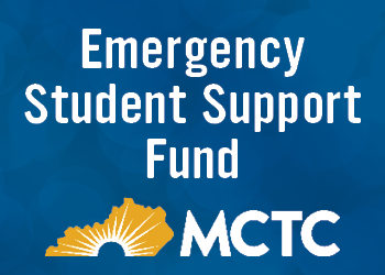 Emergency Student Support Fund title with MCTC logo on blue background.