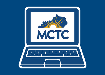 White illustration of computer with an MCTC logo on the screen on a solid blue background.